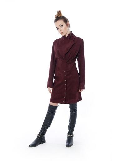 Soie Design Zımbalı Güderi Elbise Mürdüm